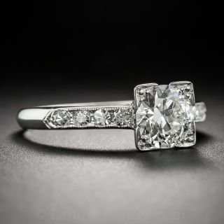 Late Art Deco 1.13 Carat Diamond Engagement Ring