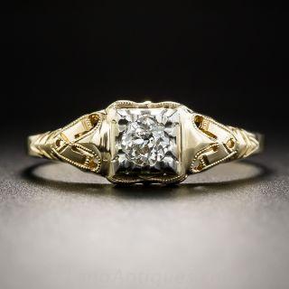 Late Art Deco .22 Carat Diamond Engagement Ring