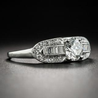 Late-Art Deco .63 Carat Diamond Platinum Engagement Ring