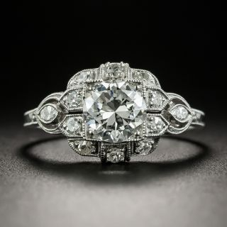 Late Art Deco .98 Carat Diamond Engagement Ring - GIA G SI1 - 2