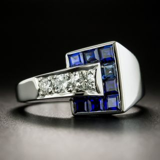 Late Art Deco/Retro Sapphire and Diamond Ring - 2