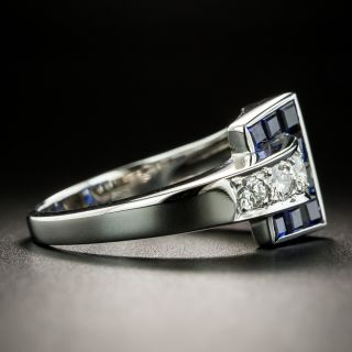 Late Art Deco/Retro Sapphire and Diamond Ring