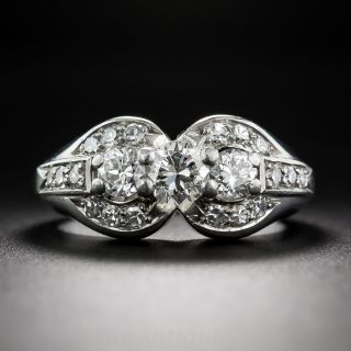 Late-Art Deco Three-Stone Diamond Ring - 1