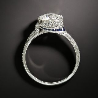 Late Edwardian 1.00 Carat Diamond and Sapphire Ring -  GIA  J VS1