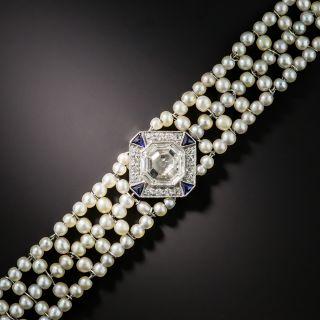 Edwardian Asscher-Cut Diamond Natural Pearl Bracelet  - 1