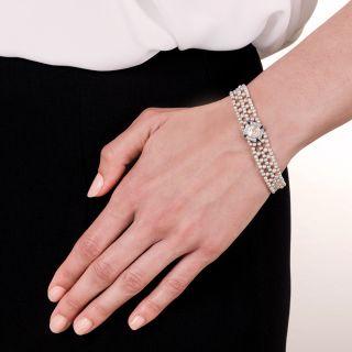 Late Edwardian Early Art Deco Asscher-Cut Diamond Natural Pearl Bracelet