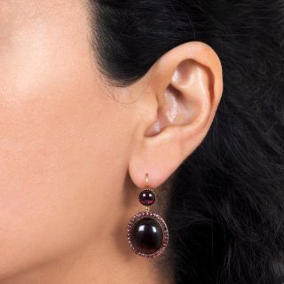Late-Georgian Cabochon Garnet Earrings