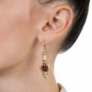 Late Georgian/Early Victorian Garnet Drop Earrings