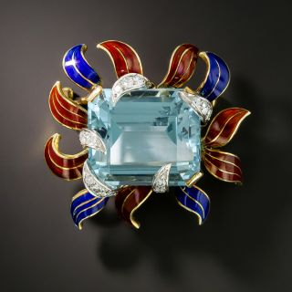 Late Mid-Century Aquamarine, Diamond and Enamel Brooch - 1