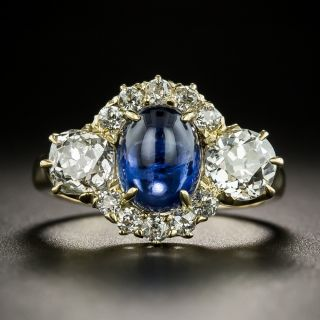 Late Victorian Cabochon Sapphire and Diamond Ring by Reiman and Sons - 2