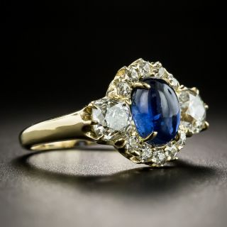 Late Victorian Cabochon Sapphire and Diamond Ring by Reiman and Sons