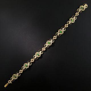Late Victorian Demantoid Garnet and Pearl Bracelet