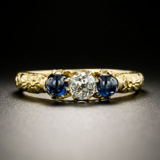 Late Victorian Diamond and Cabochon Sapphire Ring - 2