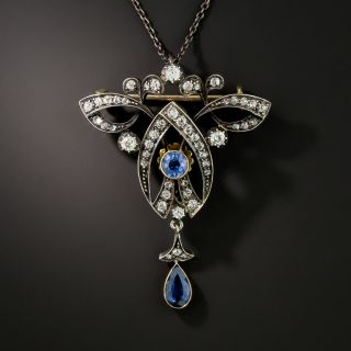 Late-Victorian Diamond and Sapphire Lavalière Necklace/Brooch - 2