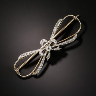 Late Victorian/Edwardian Openwork Diamond Bow Brooch - 3