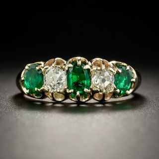 Late Victorian Emerald and Diamond Five-Stone Ring - 3