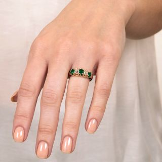Late Victorian Emerald and Diamond Five-Stone Ring