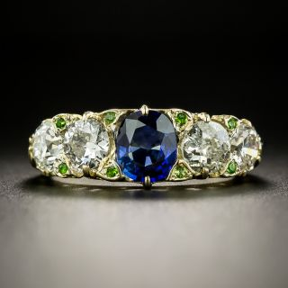 Late-Victorian Sapphire, Diamond and Demantoid Garnet Ring - 2