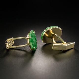Mid-Century Lattice Motif Jade Cuff Links