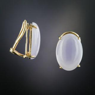 Lavender Jade Clip Earrings  - 2