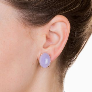 Lavender Jade Clip Earrings