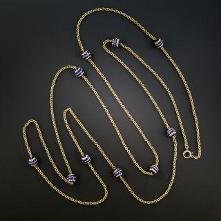 Long 15K Blue Enamel Chain