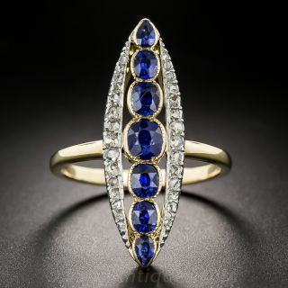 Long Antique Sapphire and Diamond Dinner Ring - 1