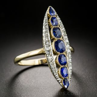 Long Antique Sapphire and Diamond Dinner Ring
