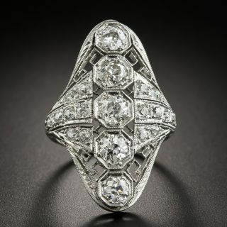 Long Art Deco Five-Stone Diamond Dinner Ring - 2