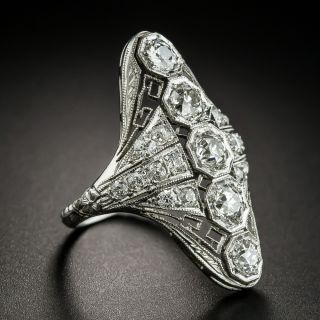 Long Art Deco Five-Stone Diamond Dinner Ring
