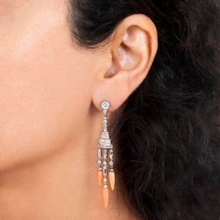 Long Art Deco Style Diamond and Coral Dangle Earrings