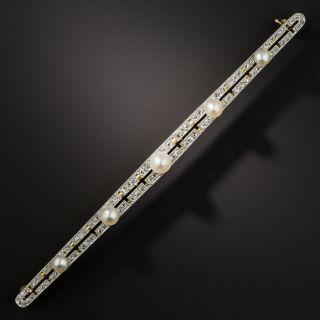 Long Edwardian Natural Pearl and Diamond Bar Pin - 2