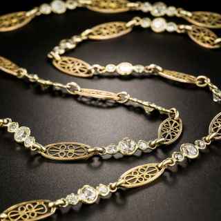 Long French Diamond Chain Necklace  - 4