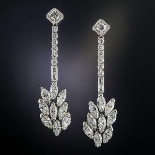 Long Platinum Diamond Drop Earrings - 1