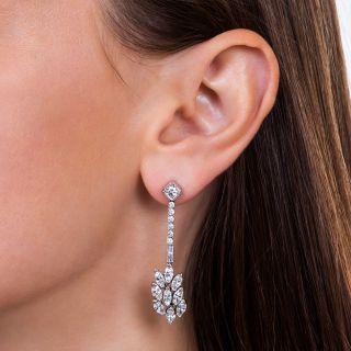 Long Platinum Diamond Drop Earrings