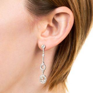 Long Rose-Cut Diamond Drop Earrings