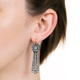Long Vintage Diamond Dangle Day/Night Earrings