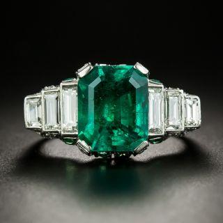Magnificent Art Deco 4.43 Carat Emerald and Diamond Ring - GIA Minor Enhancement - 2
