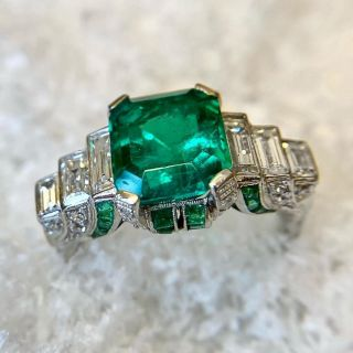 Magnificent Art Deco 4.43 Carat Emerald and Diamond Ring - GIA Minor Enhancement
