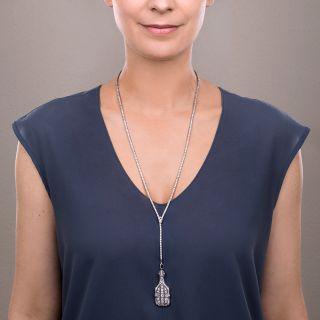 Marcus & Co. Art Deco Platinum Diamond Lorgnette Necklace