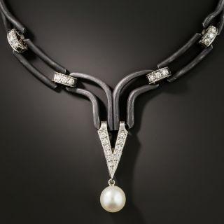 Marsh & Co. Black Steel, Diamond and Pearl Choker - 1
