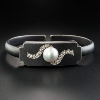 Marsh & Company Blackened Steel Pearl and Diamond Bangle Bracelet