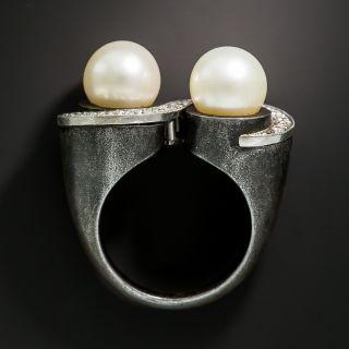 Marsh & Company Blackened Steel Pearl and Diamond Ring - 5