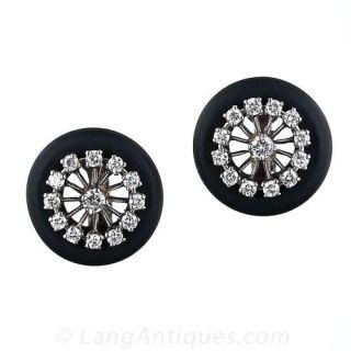 Marsh Steel and Diamond Earrings - 1