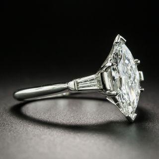 Mid-20th Century Platinum 1.00 Carat Marquise Diamond Ring - GIA F VS1