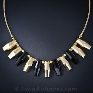 Mid-20th Century Gold and Onyx Geometric Necklace by Mossalone  - 1