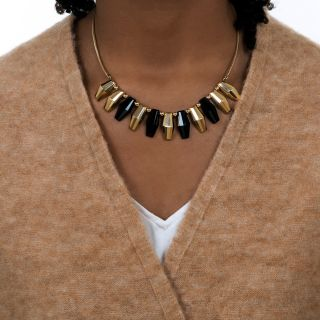Mid-20th Century Gold and Onyx Geometric Necklace by Mossalone