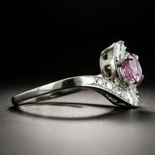 Mid-Century 1.15 Carat No-Heat Pink Sapphire and Diamond Ring