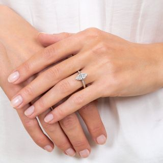 Late Art Deco 1.27 Carat Marquise Diamond Engagement Ring, GIA D VS1