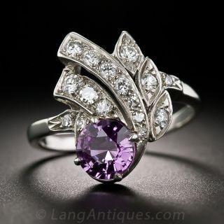 Mid-Century 1.35 Carat Purple Sapphire and Diamond Spray Ring - 1